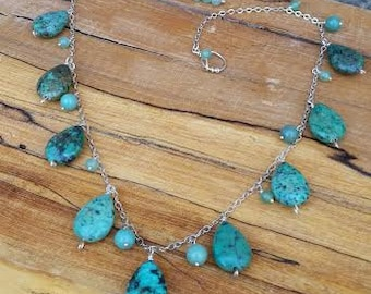 Mexican Turquoise, Jasper and Aventurine on Argentium Sterling Silver Necklace