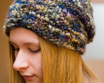Women's Knit Hat Woolen hat Bulky Hat Beanie Knitted slouchy hat Handmade hat Gift for her Winter cap