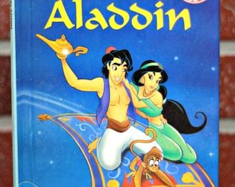 BOOK SALE, 1993's Aladdin French book, Grolier edition, Genie, princess Jasmine, Mickey's books club, Disney book, kids book, kids gift