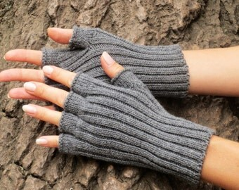 Gray wool gloves Half finger gloves Grey fingerless gloves natural gifts for women Hand knit gloves Knitted arm warmers Wool wrist warmers