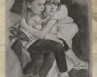 Charcoal Personalized Portrait Drawing (1-2 Subjects)