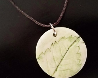 Green Yellow Bells Leaf, Handmade Polymer Clay Pendant