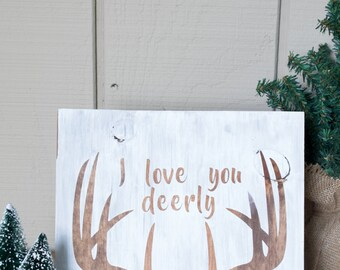 Painted I Love You Deerly Rustic Wood Sign FREE Personalization