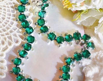 Art Deco Necklace, Emerald Green, Art Deco, Rhinestone Necklace, Czechoslovakia, Vintage necklace, Czech rhinestones,