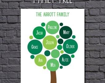 Digital File - Personalised Family Tree - custom family tree gift in any colour - digital file to print