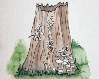 Toadstools on a Tree, West Coast, Watercolor, Pacific Northwest, Rainforest, Painting