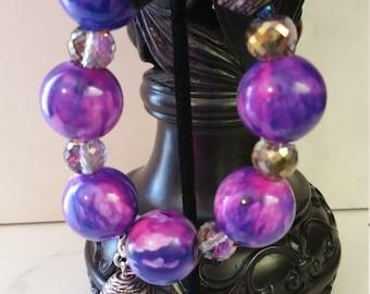 Handmade Bracelet Set, Statement Bracelet Set, Bold Purple Bracelet Set, one of a kind