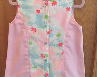 Girls Dress/JUmper/Size 3/Vintage Japanese Juban Fabric/Cotton Twill/OOAK