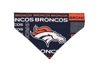 Denver Broncos Dog Bandana // Over The Collar Dog Bandana // Small - Medium - Large