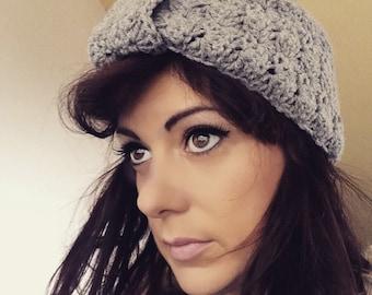 Grey wool turban style hair band