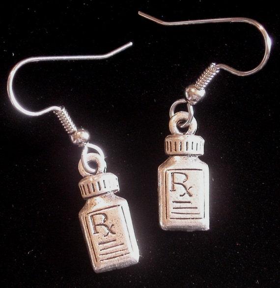 Pharmacist earrings rx pill bottle 24 karat gold plate or for Pill bottle jewelry
