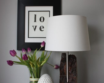 Table Lamp | Reclaimed | Wood | Bark | Stainless | Steel | Modern | Rustic
