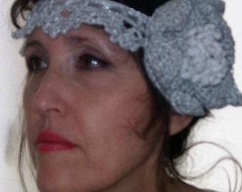 Headband headband wedding with silver and white, crochet ceremony Headband, headband Gatsby headband wedding flower