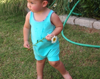 Baby romper - Mint blue romper - Toddler romper - Girl romper - Boy romper - Coming home outfit - Snapless romper - Blue baby outfit