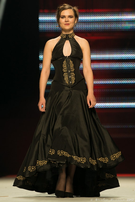 Embroidered corseted with waist cincher dress