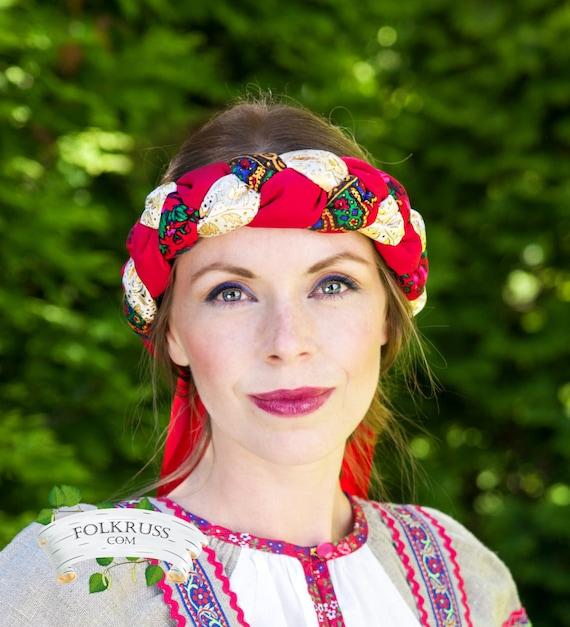 Russian weaving headwear, Weaving hat, Accessory, Wreath, Venok, Vinok, Pletyonka