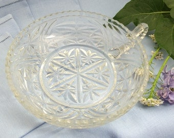 Vintage Candy Dish, Clear Glass Catchall, Pressed Glass, Candy Dish, Jewelry Catcher, Jewelry Bowl, Jewelry Dish
