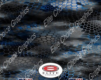 "Chameleon Hex 2 Blue 15""x52"" or 24""x52"" Truck/Pattern Print Tree Real Camouflage Sticker Roll or Sheet"