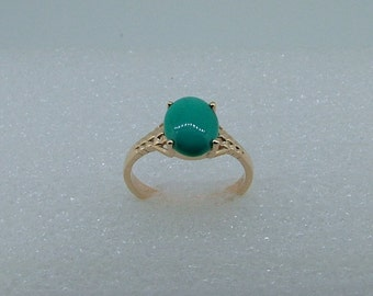 gold ring with Turquoise-Turquoise gold ring-10k gold ring with oval Turquoise-Genuine Turquoise ring