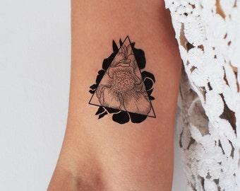 2 peony triangle temporary tattoos / floral temporary tattoo / peony triangle / geometric tattoo / drawn peony / flower tattoo / tattoo