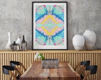 Pastel wall art.  Abstract art print, Geometric art. Home decor. Abstract wall decor. Gift idea. Modern wall art Pink Blue Aqua Yellow
