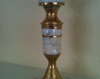 Vintage Brass Candle Holder with Inlaid Mosaic Mother of Pearl
