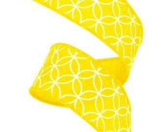 """1.5""""X 10 yard Circle Daisy/Royal  Yellow/White wired ribbon RG151629"""