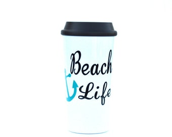 Beach Travel Mug, coffee tumbler, surfer gift, ocean, coffee mug, beach decor, surfer girl, beach cups, beach life