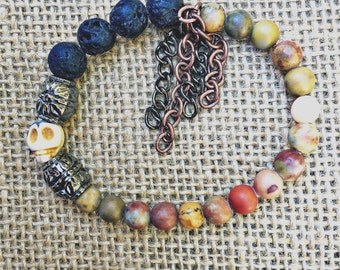 Reveuse Skull Beaded Bracelet, to be worn alone, stacked, or given as a GIFT! BOHO HIPSTER Chic!