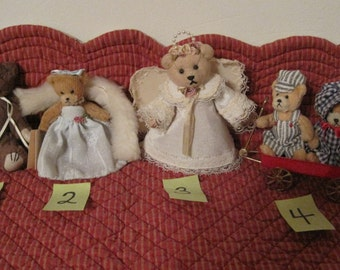 Miniature Teddy Bears, Collector Teddy Bears, Vintage Teddy Bears, Set of 4.