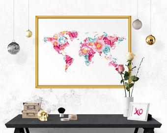 Floral world map etsy printable wall art world map printable poster floral wall decor office decor sciox Choice Image