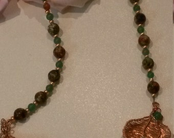 Hand-woven copper wire necklace