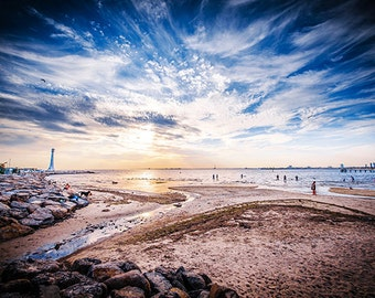 St.Kilda photography: St Kilda Beach and St.Kilda Lighthouse sunset beach sand swimming FREE SHIPPING within AUSTRALIA