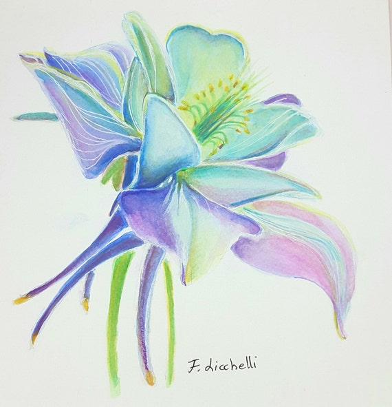 Blue flower, watercolor, original painting, OOAK, home office decoration, wall art for living room or bedroom, birthday gift idea for her.
