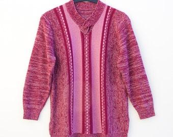 Vintage • Cable Knit Jumper • Granny Jumper • Sweater • Jumper • Pullover • Granny Pullover • V-Neck Jumper • V-Neck Sweater • Pink Jumper