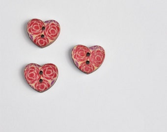 Red Roses Button - 2 Hole Button - Purple Buttons - Wooden Buttons - 25 mm Button Valentines Day - Red Button - Floral Button Craft Supply