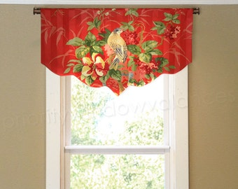 Red Bird Toile Valance for French Door or Narrow Window Richloom Platinum