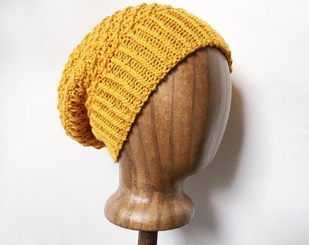 hand knit cotton blend hat - spring hat - slouch hat → the daisy chain