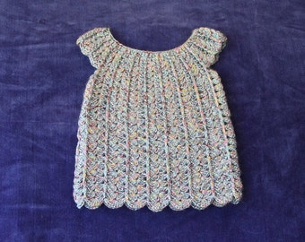 Crochet Baby Dress,  3 Months,  Baby Dress, Crocheted Baby Dress, Blue