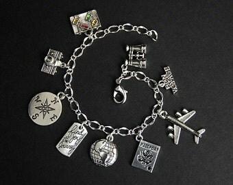 Travel Bracelet. World Traveler Charm Bracelet. Traveler Bracelet. Tourist Bracelet. Silver Bracelet. Handmade Jewelry.
