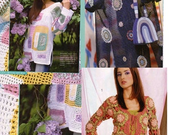Russian Crochet E-Book Issue with schemes and diagrams: Women Tops, Pulovers, Coats, Skirts, Dresses, Filet, Brugge, Motif