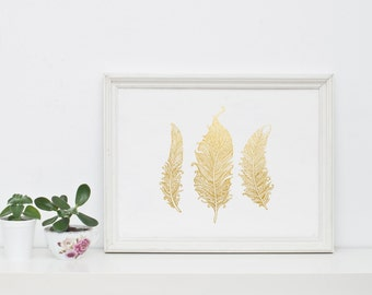 Gold Foil Print, Feather art, Feather print, Gold wall art, Wall art, Gold home decor, Gold office decor, Feather print, Feather decor, Boho