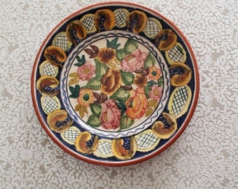 Decorative floral designs very colored glazed terracotta ceramic plate / 20 cm / Asd150133