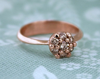 Cluster Ring - Antique inspired design with champagne diamonds in rose gold