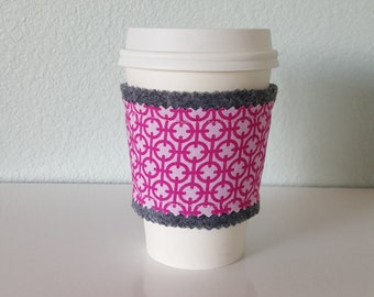 SALE, Coffee Sleeve, coffee cozy, felt and fabric coffee sleeve *seconds* (gray felt with pink geometric print)