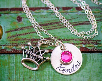 SALE - Personalized Princess Necklace - Sterling Silver Princess Jewelry - Princess Crown Necklace - Crown Charm - Princess Party Favor