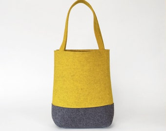 Wool Felt Tote in Yellow Ochre and Charcoal Gray | Felt Bag