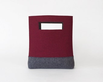 Wool Felt Handbag in Maroon and Charcoal Gray | Felt Bag | Cutout Handbag