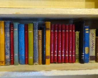 Books to fill your dollhouse shelves,  OOAK affordable shelf-filler, 1:12 scale non-opening