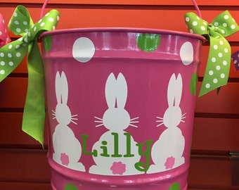 Personalized Easter Basket-Easter Basket-Personalized Easter Bucket-monogramed 10 Quart Bucket- Easter Pail- Personalized Children's Gift-